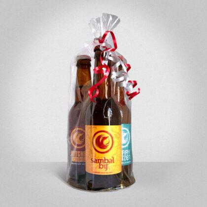 Bierpakket in folie, 3 flessen